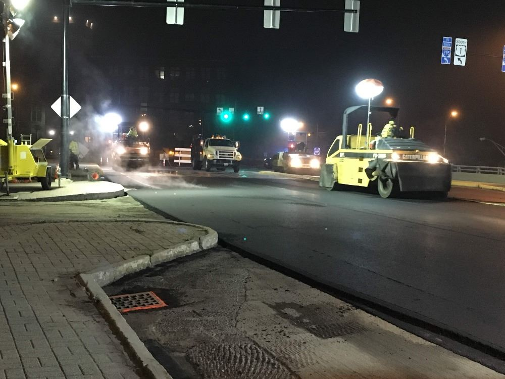 Paving Maine Street at Night at the intersection of Mason Street